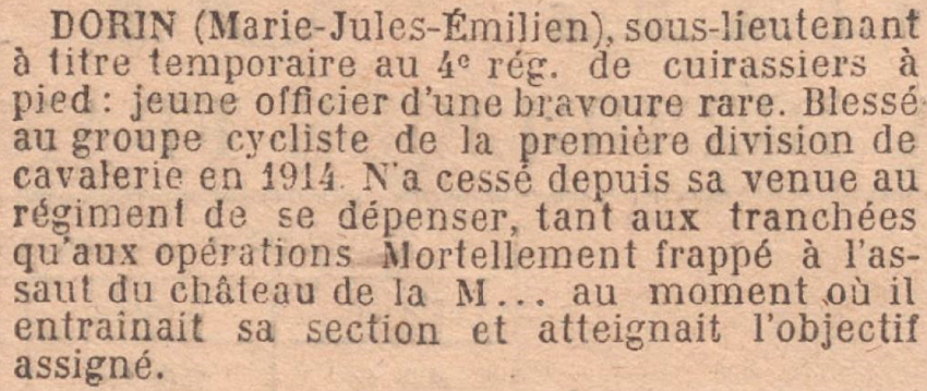 DORIN Emilien Citation Armee JO 1 Octobrei 1917
