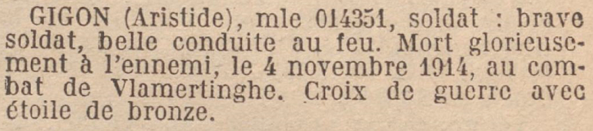 GIGON Aristide MM JO 25 Octobre 1920